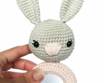 baby teether, wooden teether, natural teether, organic teether, crocheted doll, bunny teether crochet, teether toy, amigurumi teether