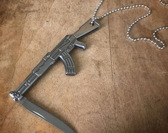 AK-47 Rifle Knife Necklace - Silver Stainless Steel Pendant Charm, Jewelry, Miniature Folding Knife