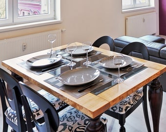 Dining Table with top in glass