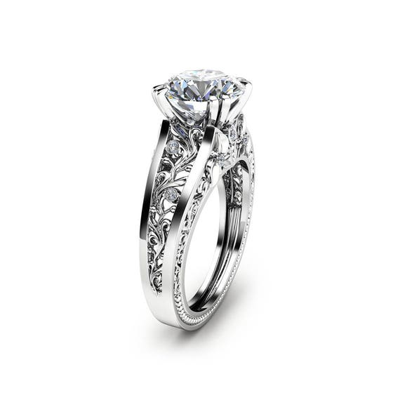 Filigree Design Moissanite Engagement Ring Unique 2 Carat