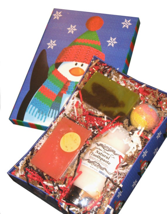 GIFT BOX - Natural Toothpaste, 2 Full Soap Bars & 1 Small Bath Bomb - Holiday / Christmas / Gift for Teen / Gift under 30 /