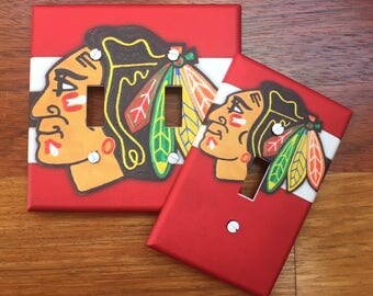 Chicago Blackhawks light switch cover // Major League Hockey  - SAME Day SHIPPING **