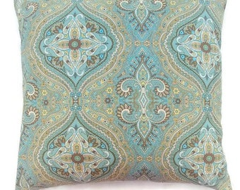 Invisible Zipper Teal Blue and Teal Green with Yellow Brown and White Pillow Cover