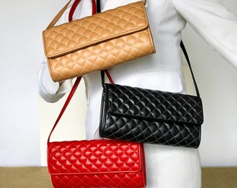 Quilted Leather Aimee Clutch in Lambskin with Removable Shoulder Strap