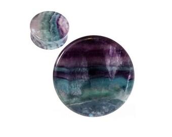 Ear Plugs ear gauges Organic Stone Rainbow Fluorite SoScene