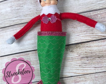 """Mermaid Tail Blanket Elf Costume - Mermaid Costume - Elf Outfit - Christmas Elf Clothes - Elf Costume - Holiday Elf - 12"""" Doll Clothes - Pho"""