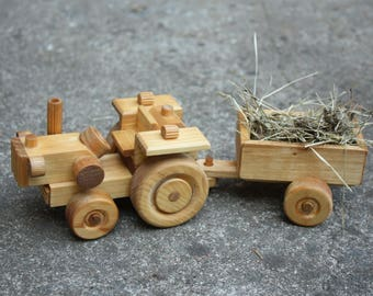 Wooden toy ECO, Tractor, Wooden Tractor with two parts, Wooden Motors, Gift for boy or girl, gift for him, for good kids, handmade with love