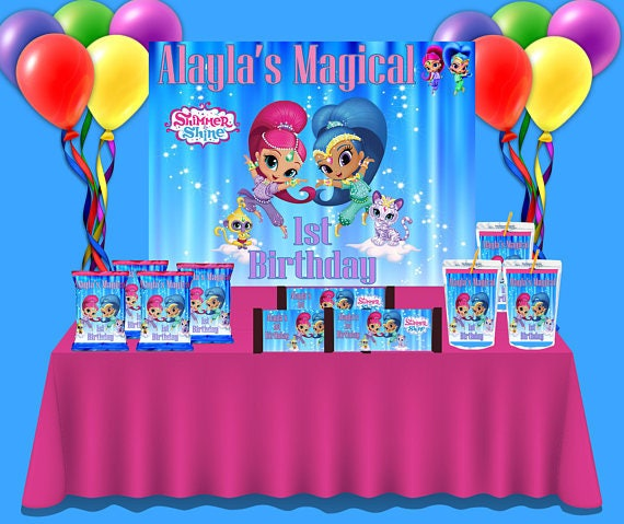 diy printable pdf only shimmer shine themed party set templates