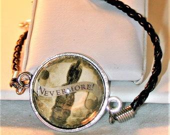 Goth Poe Raven Nevermore Cord Bracelet