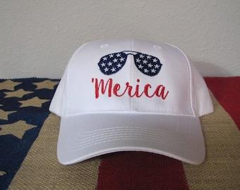 Merica adjustable cap, Fourth of July Hat, Patriotic Hat, Memorial Day hat