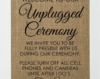 UNFRAMED Unplugged Ceremony / Burlap Print Sign 8x10 / Rustic Vintage Chic Wedding Party Sign Unplugged Wedding No Wifi Sign Wedding Decor