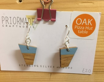 OAK - Pizza Hut table - Sterling Silver Hooks