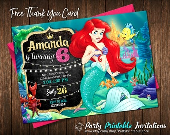 Little Mermaid Invitation - Disney Princess Ariel Invite - The Little Mermaid Birthday Invitation - Disney Princess Ariel Birthday Party