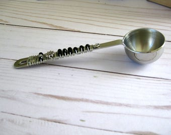 Black Swarovski Crystal Beaded Coffee Tea Scoop, Beaded Coffee Spoon, Beaded Utensils, Tea Scoop, Wedding, Anniversary, Birthday Gift