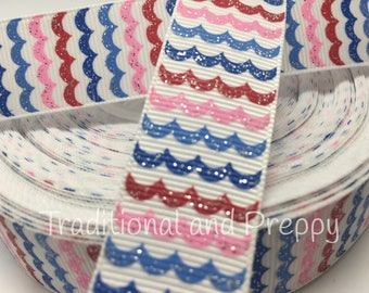 "3 yards 7/8"" glitter wave red white blue and pink grosgrain"