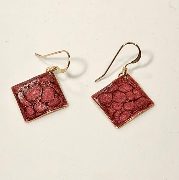 Handmade small diamond shape red enamel gold plated earrings with abstract designs