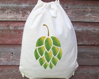 Drawstring Backpack, Beer Hop Backpack, Hop Bag, Watercolor Beer Hop, Backpack, Day Pack, Lightweight Pack, Backpack, Beer Lover Gift, Hops