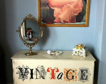 Vintage Shabby Chic Blanket Box Painted Storage Ottoman Lined Chest & Console Table