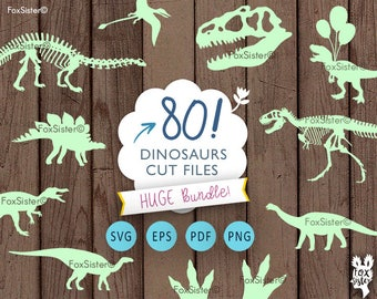 Dinosaur svg Bundle! 80 svg Dinosaur Silhouette Templates | Paper & Vinyl Cut | Jurassic Animal  | Cricut Cameo | cut files | Home Decor