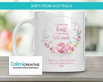 Teachers Mug - Custom Teacher Mug - Teacher Appreciation Gift - End of Year Teachers Gift - Personalised Teachers Gift - A Big Heart!