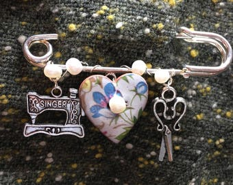 "Sewing Queen Kilt Pin Brooch with Freshwater Pearls -3"" kilt pin with sewing charms"