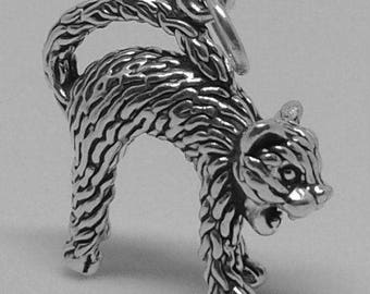 SCAREDY CAT Charm .925 Sterling Silver Hissing Kitty Halloween Pendant - lp3559