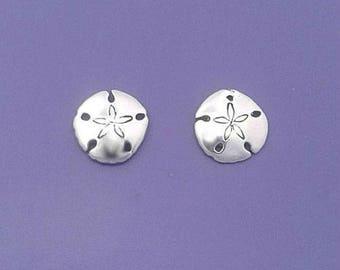 SAND DOLLAR Earrings .925 Sterling Silver Post Stud - se691