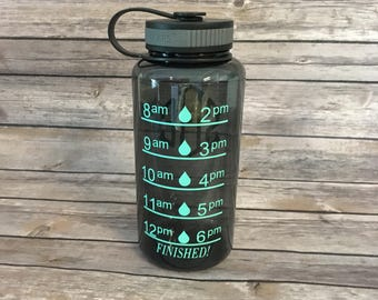 Monogrammed 34oz Water Bottle, Wide Mouth Bottle, Water Intake Bottle, Water Level Bottle, Personalized Water Bottle