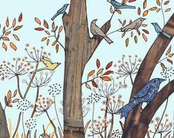 SEEDHEAD BIRDS .Birds perch on tree branches and seed heads,a touch of Autumn in the air. Printed card made from an original collage artwork