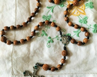Handmade Celtic Irish Rosary with handtied knots and olivewood from Holy Land