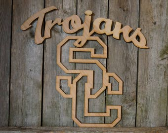 University of Southern California USC logo wall hanging sign/decor/gift/laser cutout/university/college/mascot/student