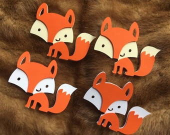 Fox shapes / Fox die cut / Woodland birthday party / Fox centerpieces stick
