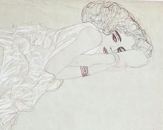 Large Gustav Klimt print of pencil and crayon drawing of beautiful reclining woman partially covered with fabric, 9 x 14 ins, published 1980
