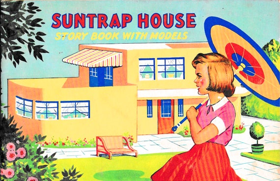 Vintage story book with cardboard model of house to construct, Suntrap House, full color, simple instructions, complete and intact, 1950s