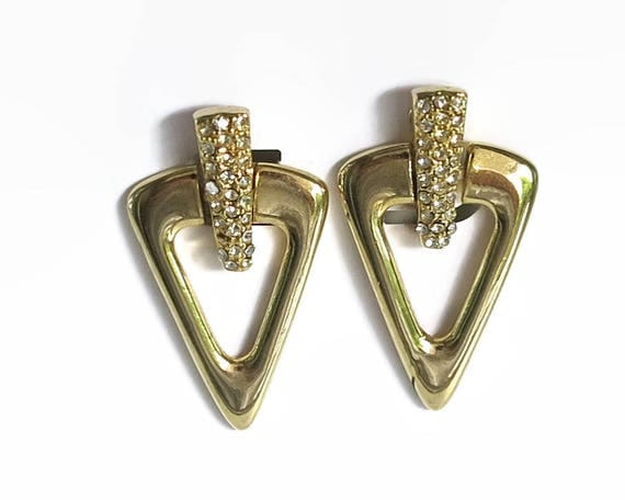 Large rhinestone dangling earrings, triangle with central rhinestone studded bar, clip ons, circa 1980s