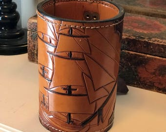 Handcrafted Leather mug with a ship