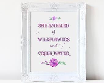 Wildflowers + Creek Water Quote Artwork Digital Print Watercolor Creek Water Nursery Bedroom Baby Shower Little Girl Lavender Purple Mint