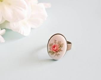 "Ring white porcelain vintage & romantic ""Enora"""