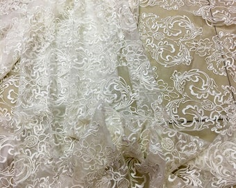 Palace Embroidery silk fabric,crinkle silk chiffon lace fabric in off white,wedding dress fabric-ZSME0022