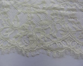 Ivory lace fabric, French Lace, floral lace, ivory chantilly lace