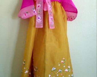 Vintage Children Korean Hanbok Luxury Korean Traditional Clothes Dress Embroidered ROYAL HANBOK Woman - Pink Princess hanbok S