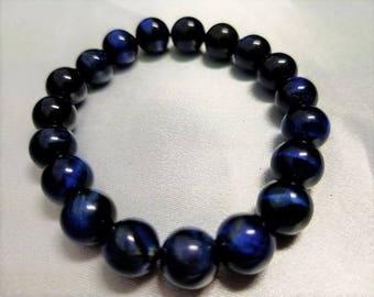 Blue Tiger Eye Beaded Bracelet