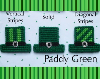 "Plastic Canvas: Saint Pat's Hats Magnets -- ""Paddy Green"" (set of 3 hats)"