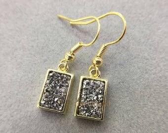 Wholesale Crystal Quartz Druzy Earring,Silver Titanium Druzy Dangle Earring,Rectangle Gold Plated Boho Druzy Earring,Wedding Jewelry ER5132