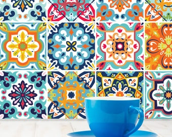 Tile Stickers 24 Pack DIY Decals Mediterranean Portuguese Moroccan Style -T7