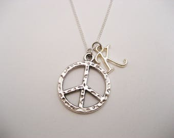 Letter Peace Sign Necklace, Initial Necklace, Personalized Peace Necklace, Peace Sign Jewelry, Peace Jewelry, Necklace Peace Gift