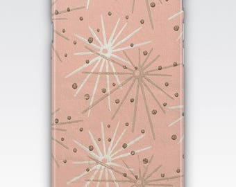 Case for iPhone 8, iPhone 6s,  iPhone 6 Plus,  iPhone 5s,  iPhone SE,  iPhone 5c, iPhone 7,  Retro Mid Century Starburst Wallpaper Pattern