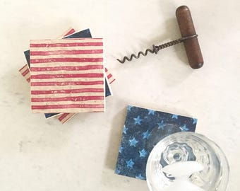 Stars and Stripes Coasters, Patriotic coasters, Americana gift, American flag coasters, Nautical coasters