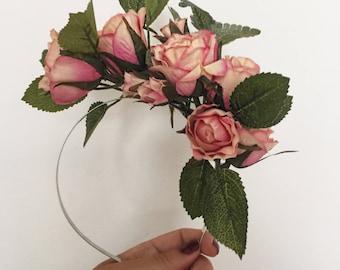 Pink Rose Fascinator/ Races / Wedding