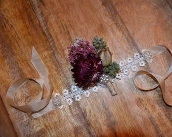 Wedding corsage, Wrist corsage, Burgundy corsage, Dried flower corsage - Custom Made to Order